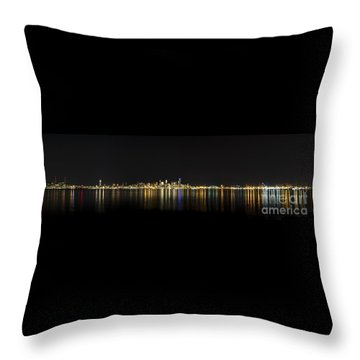 Seattle Washington Skyline From Alki Seacrest Park At 10mm Throw Pillow by Patrick Fennell