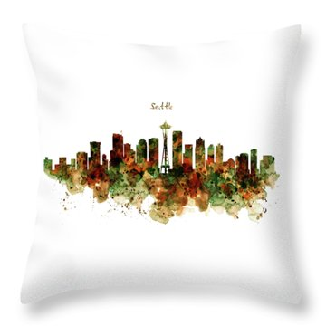 Throw Pillow featuring the mixed media Seattle Watercolor Skyline Poster by Marian Voicu