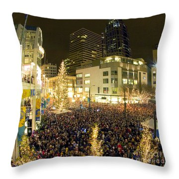 Throw Pillow featuring the photograph Seattle Westlake Tree Lighting by Peter Simmons
