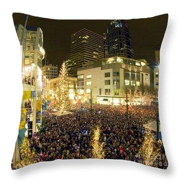 Seattle Westlake Tree Lighting Throw Pillow