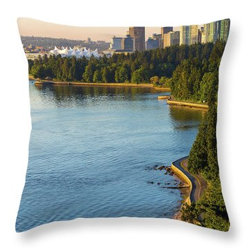 Seawall Along Stanley Park In Vancouver Bc Throw Pillow by David Gn