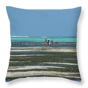 Seaweed Colectors Throw Pillow