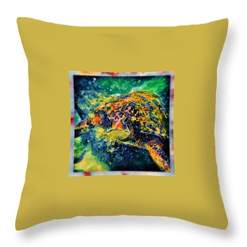 Throw Pillow featuring the digital art Sebastian The Turtle by Erika Swartzkopf