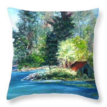 Secluded Boathouse-millsite Lake  Throw Pillow