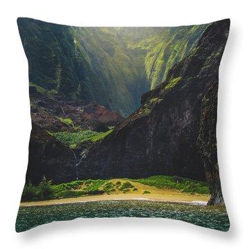 Secluded Kalalau Beach Throw Pillow
