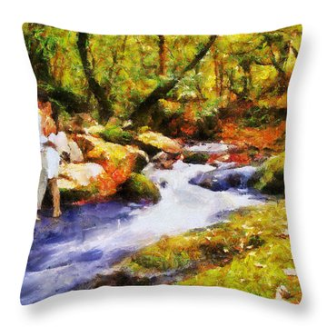 Secluded Stream Throw Pillow