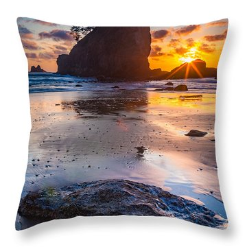Second Beach Rock Throw Pillow by Inge Johnsson