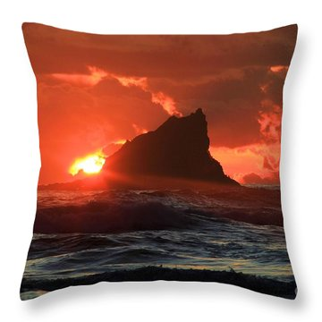 Second Beach Shark Throw Pillow by Adam Jewell