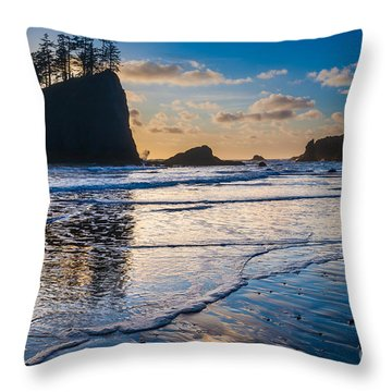 Second Beach Waves Throw Pillow by Inge Johnsson