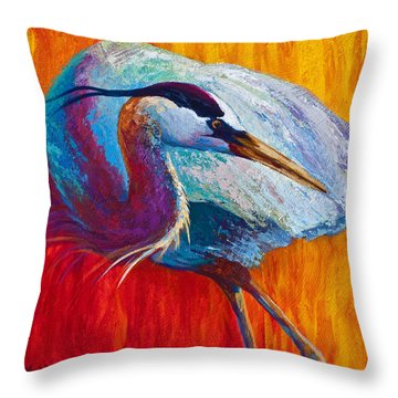 Second Glance - Great Blue Heron Throw Pillow