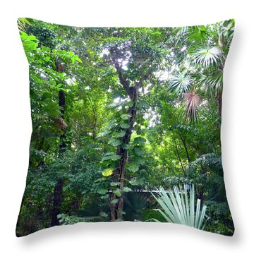 Throw Pillow featuring the photograph Secret Bridge In The Tropical Garden by Francesca Mackenney