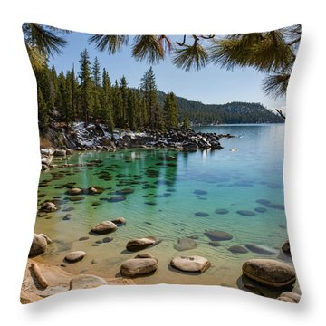 Secret Cove Through The Trees By Brad Scott Throw Pillow