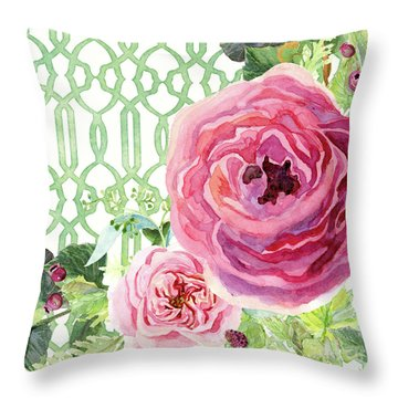 Throw Pillow featuring the painting Secret Garden 3 - Pink English Roses With Woodsy Fern, Wild Berries, Hops And Trellis by Audrey Jeanne Roberts