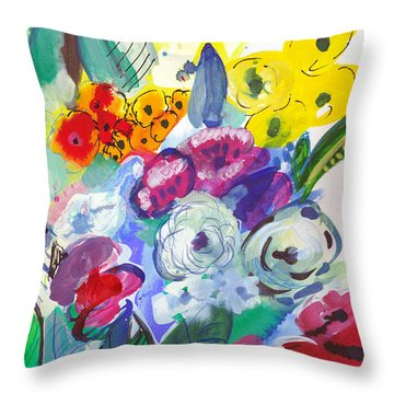 Secret Garden With Wild Flowers Throw Pillow