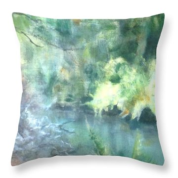 Throw Pillow featuring the painting Secret Hideaway by Mary Lynne Powers