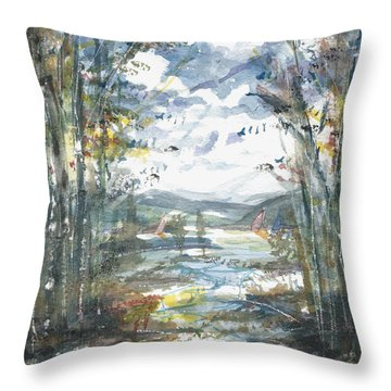 Throw Pillow featuring the painting Secret Sailing Spot by Reed Novotny