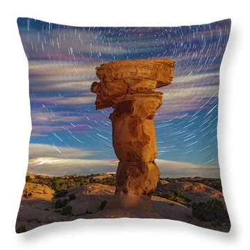 Secret Spire And Star Trails Throw Pillow