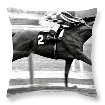 Secretariat, Belmont Stakes, Back Stretch Throw Pillow