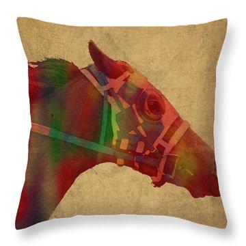 Secretariat Horse Race Watercolor Portrait Throw Pillow