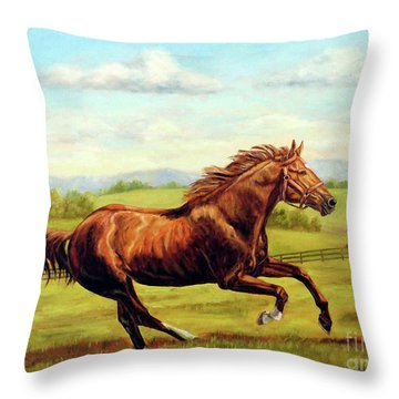 Secretariat In Retirement Throw Pillow