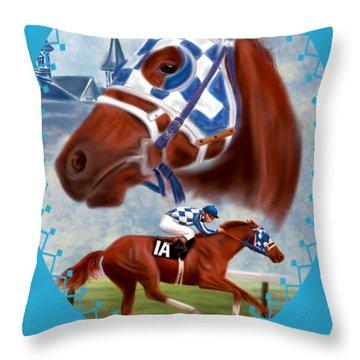 Secretariat Racehorse Portrait Throw Pillow