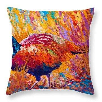 Secrets In The Grass - Pheasant Throw Pillow