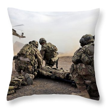 Security Force Team Members Wait Throw Pillow by Stocktrek Images