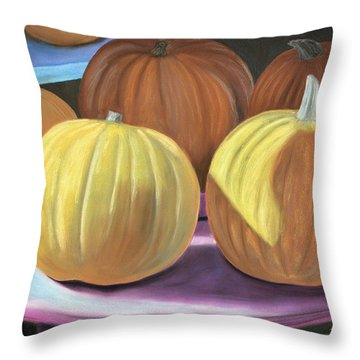 Throw Pillow featuring the pastel Sedillo Pumpkins by Jan Amiss