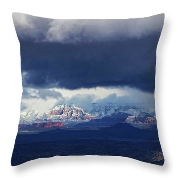 Throw Pillow featuring the photograph Sedona Area Third Winter Storm by Ron Chilston