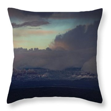 Sedona At Sunset With Red Rock Snow Throw Pillow