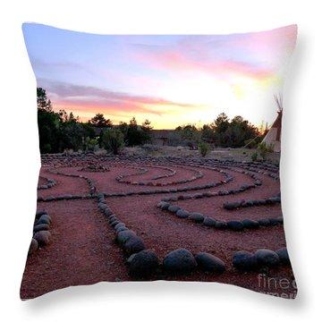 Sedona Labyrinth Sunset Throw Pillow