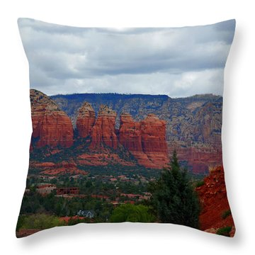 Sedona Mountains Throw Pillow by Susanne Van Hulst