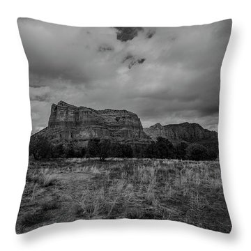 Throw Pillow featuring the photograph Sedona Red Rock Country Arizona Bnw 0177 by David Haskett