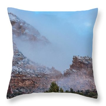 Throw Pillow featuring the photograph Sedona Winter by Sandra Bronstein