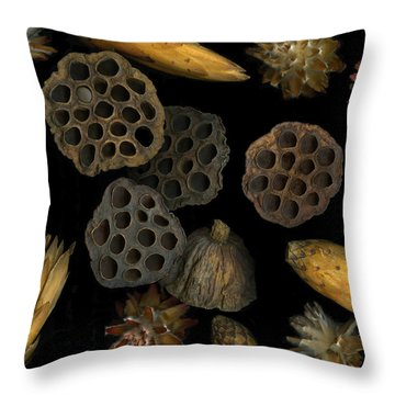 Seeds And Pods Throw Pillow by Christian Slanec