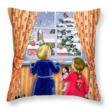 Seeing The Snow Throw Pillow by Lavinia Hamer