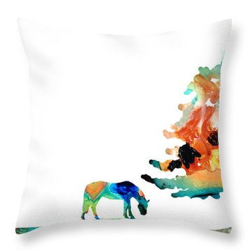 Seeking Shelter - Colorful Horse Art Painting Throw Pillow