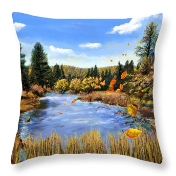Seeley Montana Fall Throw Pillow by Susan Kinney