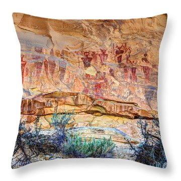 Sego Canyon Indian Petroglyphs And Pictographs Throw Pillow by Gary Whitton