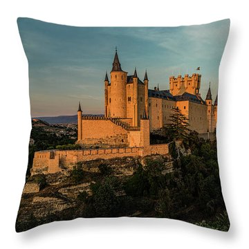 Segovia Alcazar And Cathedral Golden Hour Throw Pillow