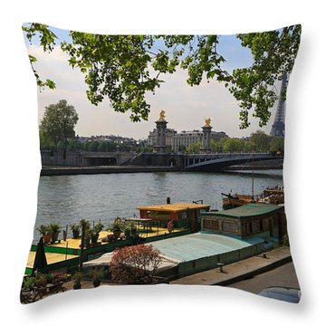 Seine Barges In Paris In Spring Throw Pillow by Louise Heusinkveld