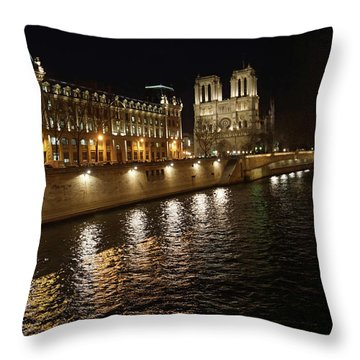 Seine - Notre Dame Throw Pillow by Erik Tanghe