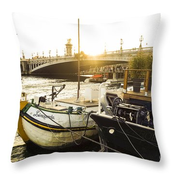 Seine River With Barges And Boats, Pont De Alexandre Bridge Behind, Paris France. Throw Pillow by Perry Van Munster
