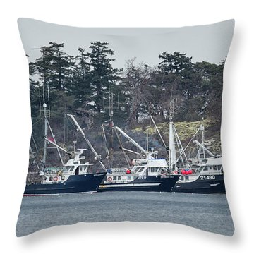 Seiners In Nw Bay Throw Pillow by Randy Hall