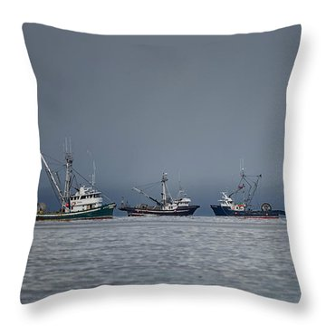 Seiners Off Mistaken Island Throw Pillow by Randy Hall