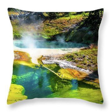 Seismograph Pool In Yellowstone Throw Pillow