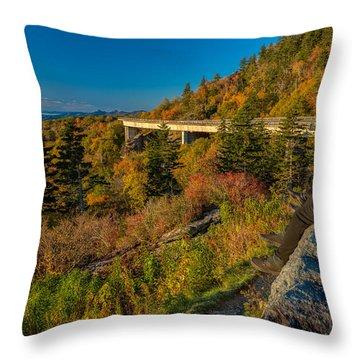 Seize The Day At Linn Cove Viaduct Autumn Throw Pillow