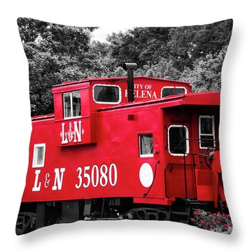 Throw Pillow featuring the photograph Selective Color Red Caboose by Parker Cunningham