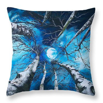 Throw Pillow featuring the painting Selenophilia by Sharon Duguay