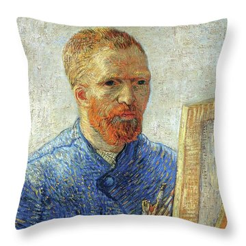 Throw Pillow featuring the painting Self Portrait As An Artist by Van Gogh